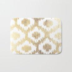 Modern white hand drawn ikat pattern faux gold  Bath Mat