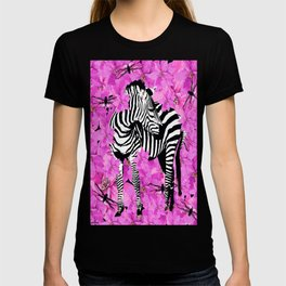 ZEBRA AND PINK FLOWERS and DRAGONFLIES T-shirt