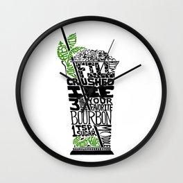 Mint Julep - Cocktail Recipe - Kentucky Derby bourbon Linoleum Cut Letterpress Design - BirdsFlyOver Wall Clock