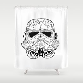 Day Of The Death Star Stormtrooper Black And White Shower Curtain