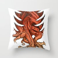 dungeons and dragons Throw Pillows featuring Dragons by sandara