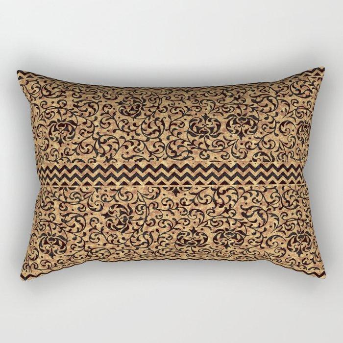 Golden Renaissance Damask Rectangular Pillow