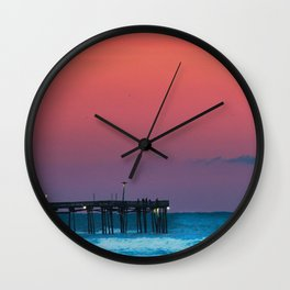 Sunset by the Avalon Pier Wall Clock
