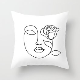 Beauty woman face with rose. Abstract minimal fine art. One line drawing. Throw Pillow