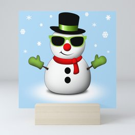 Cool Snowman with Shades and Adorable Smirk Mini Art Print