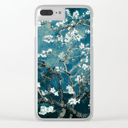 Van Gogh Almond Blossoms : Dark Teal Clear iPhone Case