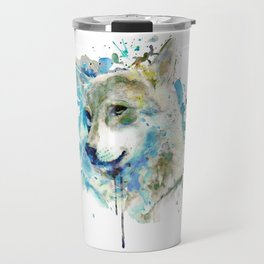 Watercolor Wolf Portrait Travel Mug