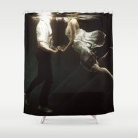 woman Shower Curtains featuring abyss of the disheartened VII by Heather Landis