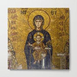 Mosaic Mary and Jesus Metal Print