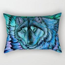 Blue Wolf Aurora Colorful Fantasy Rectangular Pillow