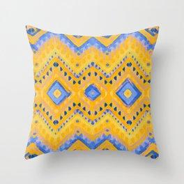 itzel - pineapple + azure Throw Pillow