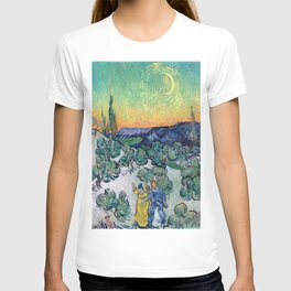 Vincent van Gogh's Landscape with Couple Walking and Crescent Moon T-shirt