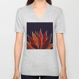 Agave Cactus Warm Autumn Plaid Unisex V-Neck