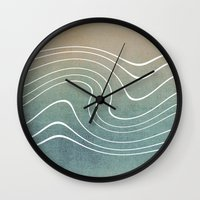 aelwen Wall Clocks featuring Wave by Aelwen