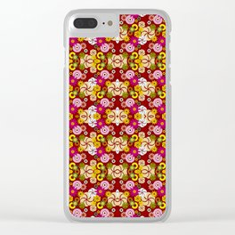 Maroon Retro Pattern Clear iPhone Case