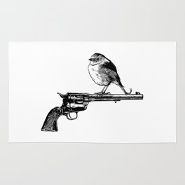 Colt Peacemaker and bird - Weapon - Gun - Ironic - Peace - Pop Culture Rug
