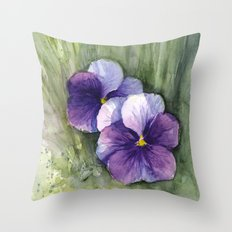 Purple Pansies Watercolor Flowers Painting Violet Floral Art Throw Pillow