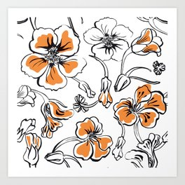Bold seamless hand drawn floral pattern repeat motif with orange nasturtium flowers, Ink drawing. Art Print