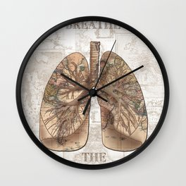 breathe the adventure-world map 1 Wall Clock