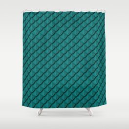 Elegant Teal Dragon Scale Shower Curtain