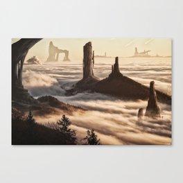 Mountain Citadel Matte Painting Canvas Print