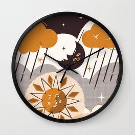 Mid Century Modern Sun & Moon Wall Clock