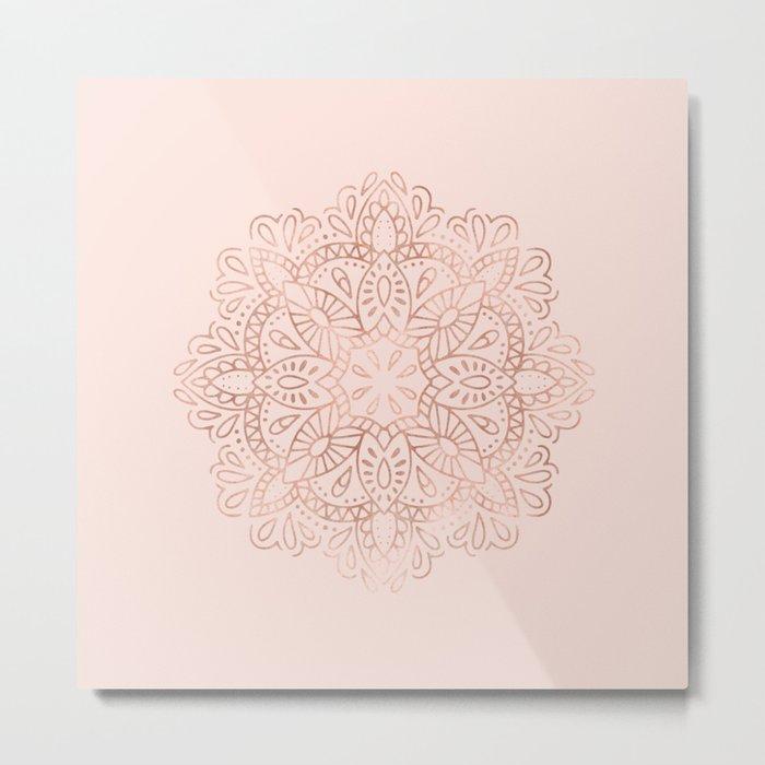 Mandala Rose Gold Pink Shimmer on Blush Pink Metal Print