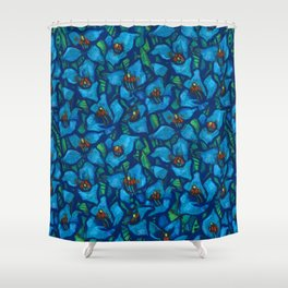 The Blue Puya, Floral Art, Tropic Fowers Shower Curtain