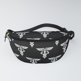 Caduceus medical symbol with two snakes sword and wings Fanny Pack