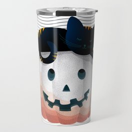 065 - tired kitty on the Halloween pumkpin Travel Mug