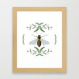 Honey Bee with Ferns Framed Art Print