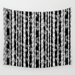 Bamboo Forest Pattern - Black White Grey Wall Tapestry