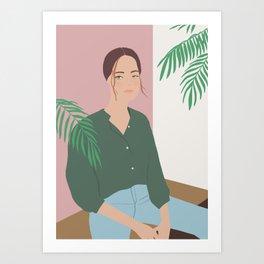 Summer Breeze, girly, fashion illustration, illustration, aloha, summer, tropical, hawaiian art Art Print