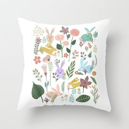 Springtime In The Bunny Garden Of Floral Delights Throw Pillow