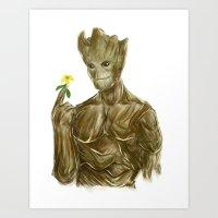 groot Art Prints featuring Groot by Augeo