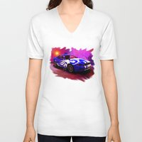 mustang V-neck T-shirts featuring Wild Mustang by JT Digital Art