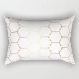 Geometric Honeycomb Pattern - Gold #170 Rectangular Pillow