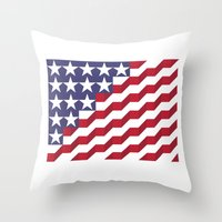 american flag Throw Pillows featuring American Flag by Mychal Diaz