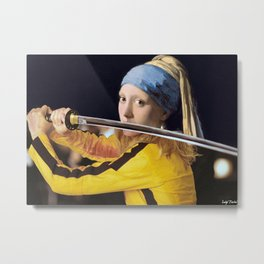 "Vermeer's ""Girl with a Pearl Earring"" & Kill Bill Metal Print"