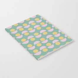 Scandinavian Geometric Pattern in Green, Lavender and Yellow Notebook