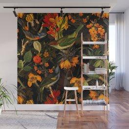 Vintage & Shabby Chic - Midnight Tropical Bird Garden Wall Mural