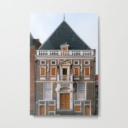 Historical house in the old iconic city center of Haarlem, Noord-Holland, Netherlands | Winter fine art architecture print Metal Print