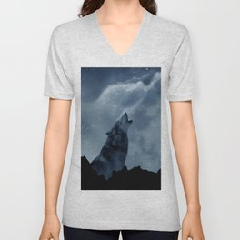 Wolf howling at full moon Unisex V-Neck