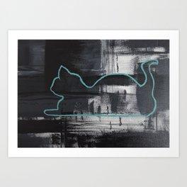 Teal Cat Silhouette Art Print