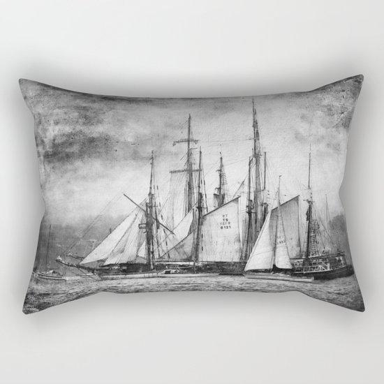 black and white ship Rectangular Pillow