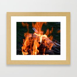 Fire, fire burning firewood Framed Art Print