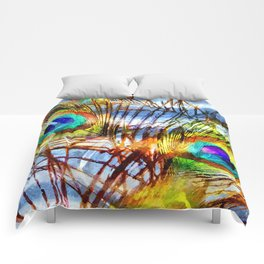 Pavo Feathers Under Water Comforters