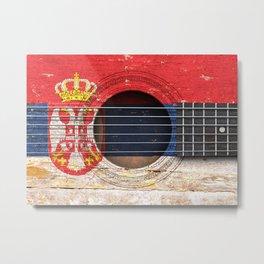 Old Vintage Acoustic Guitar with Serbian Flag Metal Print