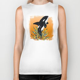 Cute Orca Whale Orange Doodle Splash Biker Tank