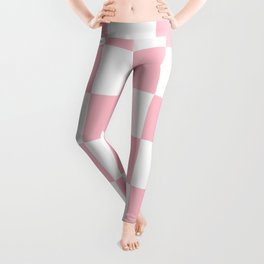 Large Checkered - White and Pink Leggings